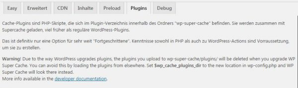 WP Super Cache Menü Plugins
